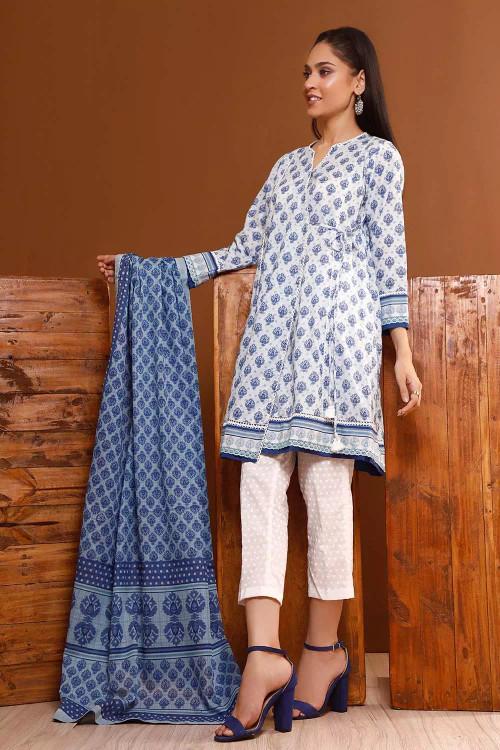 Gul Ahmed 3 Piece Custom Stitched Suit - Blue - LB16544