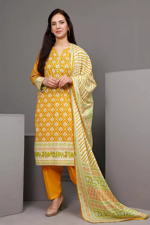 Gul Ahmed 3 Piece Custom Stitched Suit - Yellow - LB16545