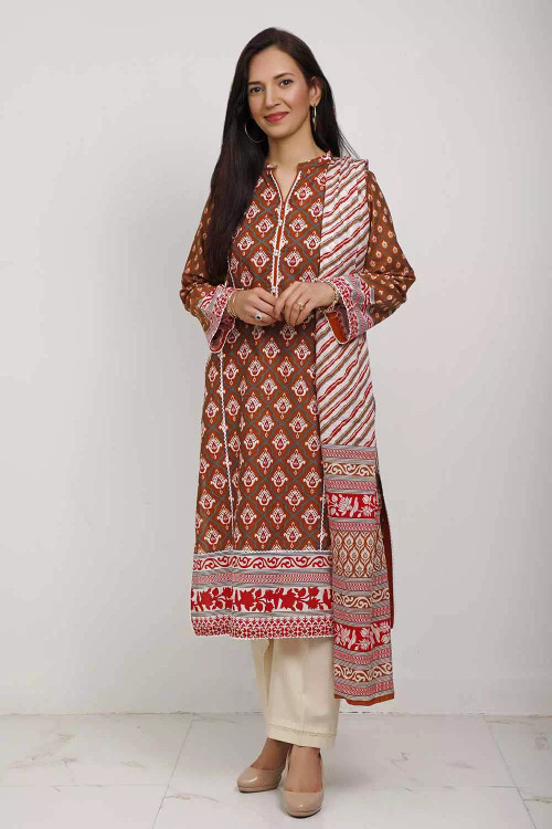 Gul Ahmed 3 Piece Custom Stitched Suit - Brown - LB16546