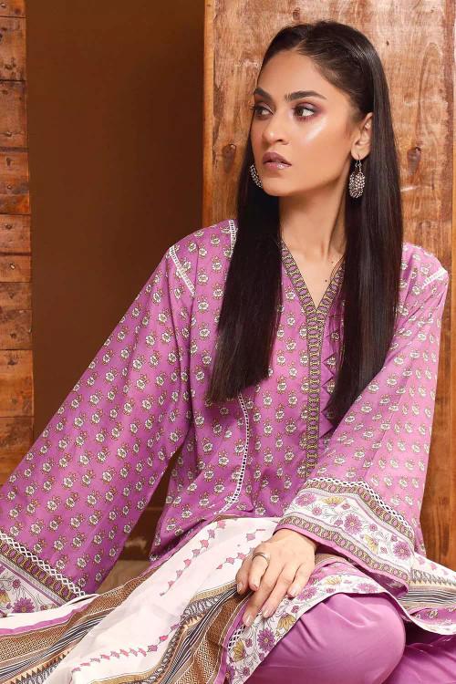 Gul Ahmed 3 Piece Custom Stitched Suit - Purple - LB16547