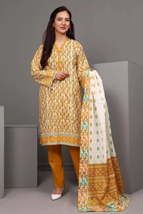 Gul Ahmed 3 Piece Custom Stitched Suit - Brown - LB16548