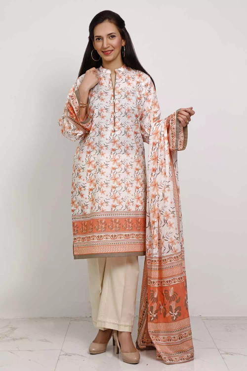 Gul Ahmed 3 Piece Custom Stitched Suit - Off-White - LB16549