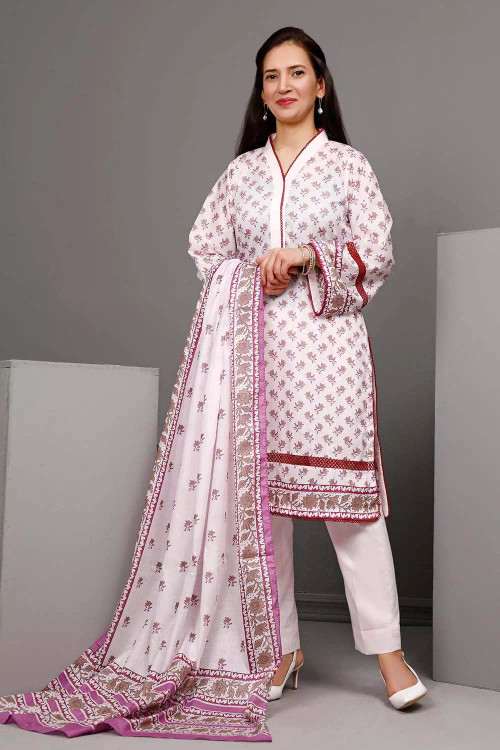 Gul Ahmed 3 Piece Custom Stitched Suit - White - LB16550