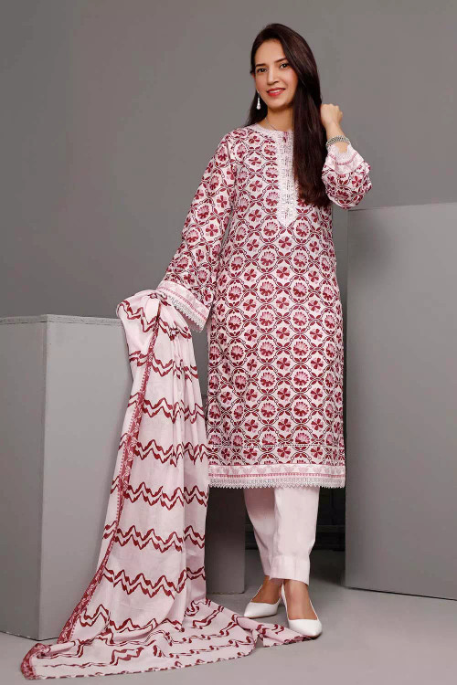 Gul Ahmed 3 Piece Custom Stitched Suit - Pink - LB16551