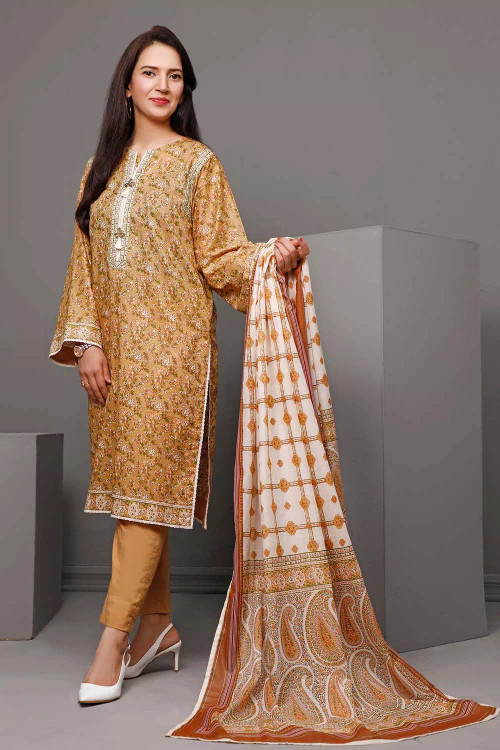 Gul Ahmed 3 Piece Custom Stitched Suit - Brown - LB16552