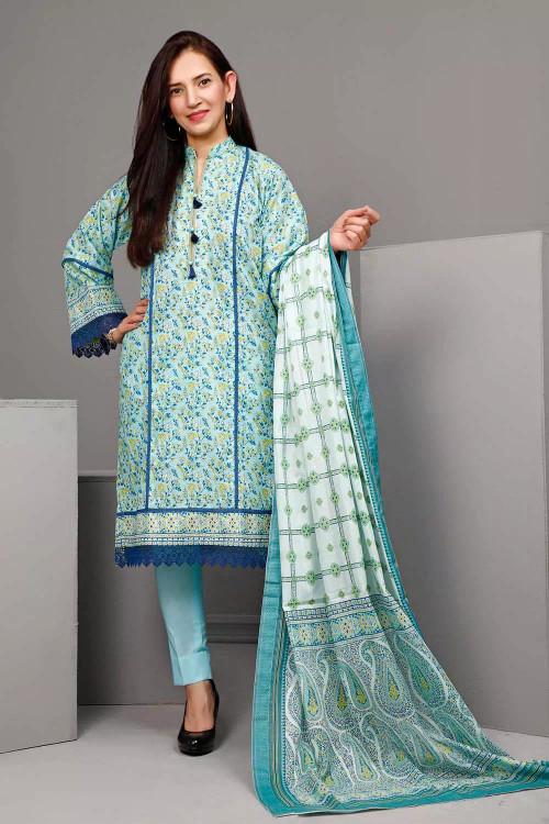 Gul Ahmed 3 Piece Custom Stitched Suit - Blue - LB16553