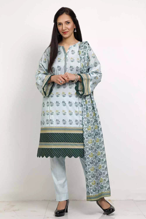 Gul Ahmed 3 Piece Custom Stitched Suit - Green - LB16554