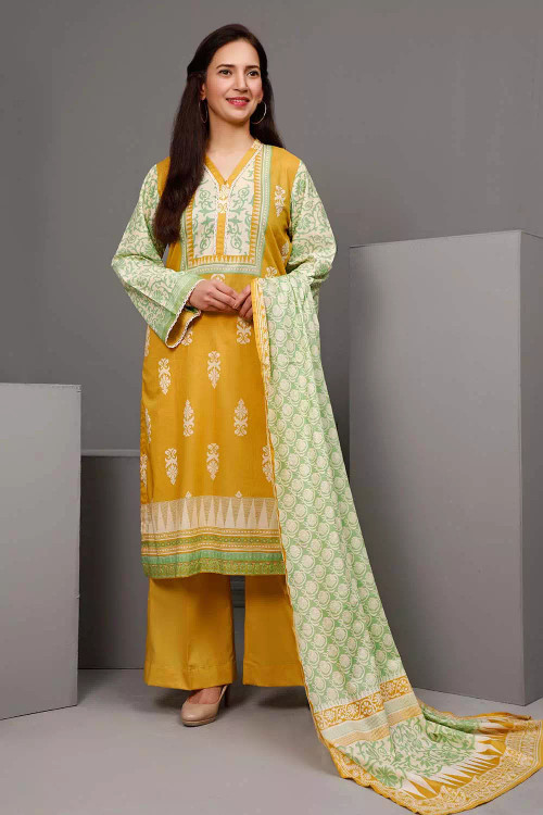 Gul Ahmed 3 Piece Custom Stitched Suit - Yellow - LB16574