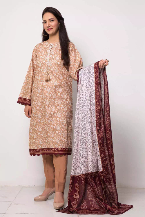 Gul Ahmed 3 Piece Custom Stitched Suit - Brown - LB16575