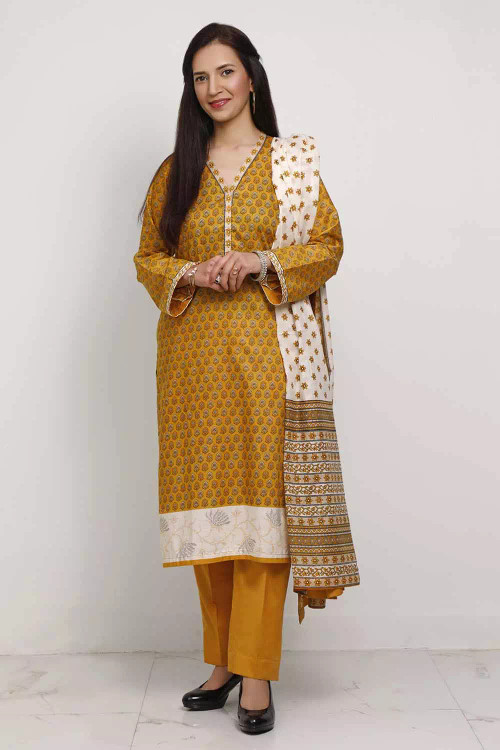 Gul Ahmed 3 Piece Custom Stitched Suit - Brown - LB16576