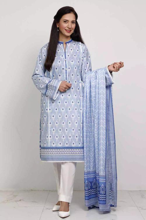 Gul Ahmed 3 Piece Custom Stitched Suit - Blue - LB16578