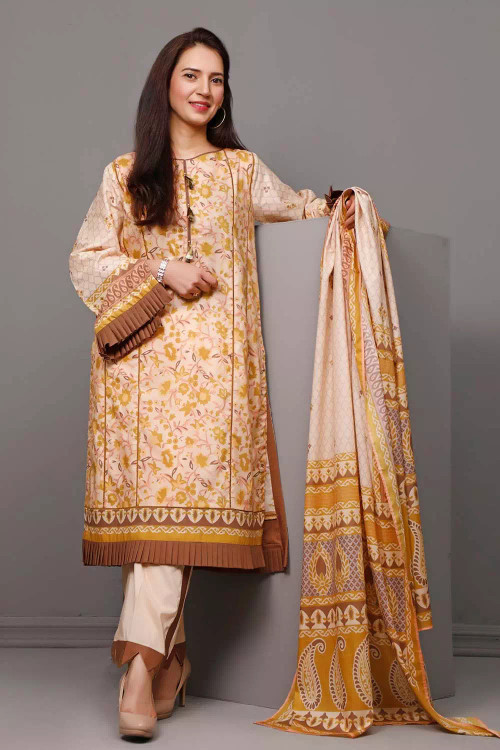 Gul Ahmed 3 Piece Custom Stitched Suit - Brown - LB16579