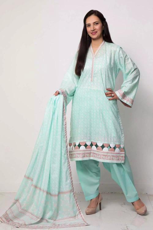 Gul Ahmed 3 Piece Custom Stitched Suit - Blue - LB16580