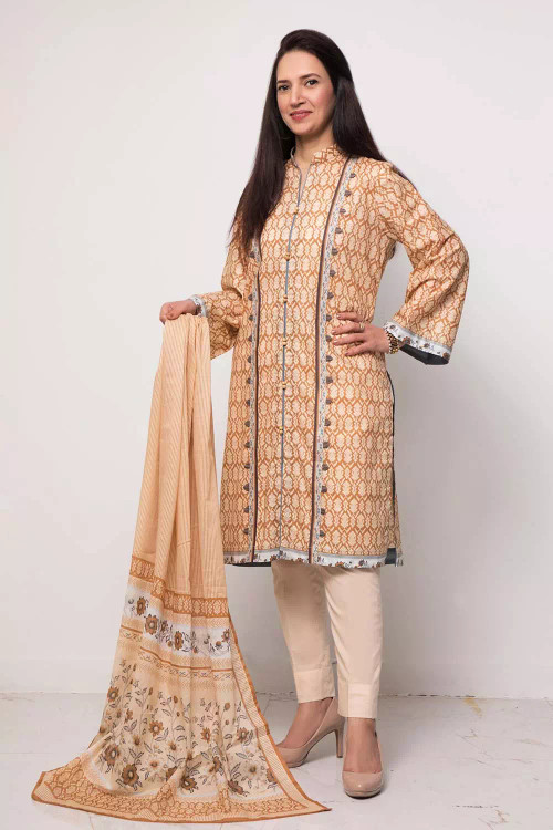 Gul Ahmed 3 Piece Custom Stitched Suit - Brown - LB16581