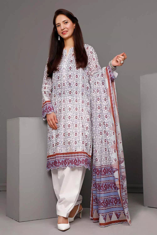 Gul Ahmed 3 Piece Custom Stitched Suit - Purple - LB16582