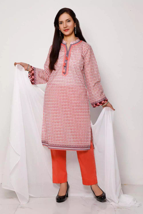 Gul Ahmed 1 Piece Custom Stitched Shirt - Pink - LB16590