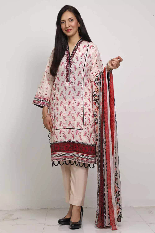 Gul Ahmed 3 Piece Custom Stitched Suit - Off-White - LB16591