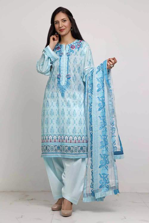 Gul Ahmed 3 Piece Custom Stitched Suit - Blue - LB16592