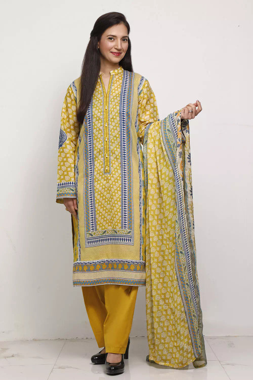 Gul Ahmed 3 Piece Custom Stitched Suit - Green - LB16593