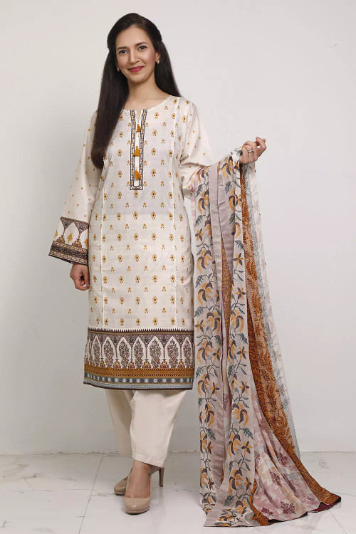 Gul Ahmed 3 Piece Custom Stitched Suit - Brown - LB16594