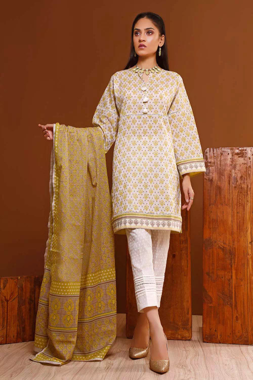 Gul Ahmed 3 Piece Custom Stitched Suit - Brown - LB16603