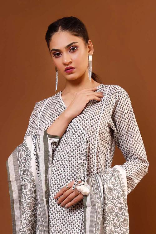 Gul Ahmed 3 Piece Custom Stitched Suit - Grey - LB16604