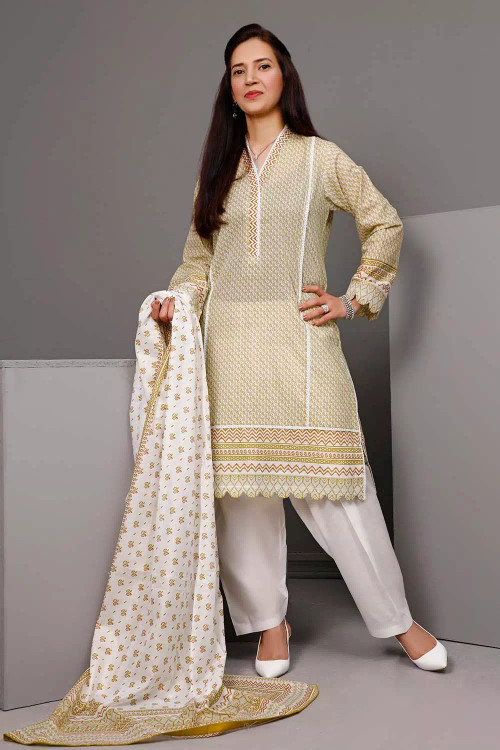 Gul Ahmed 3 Piece Custom Stitched Suit - Brown - LB16608