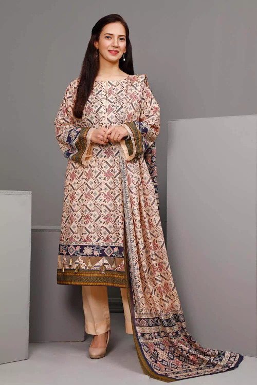 Gul Ahmed 3 Piece Custom Stitched Suit - Brown - LB16611