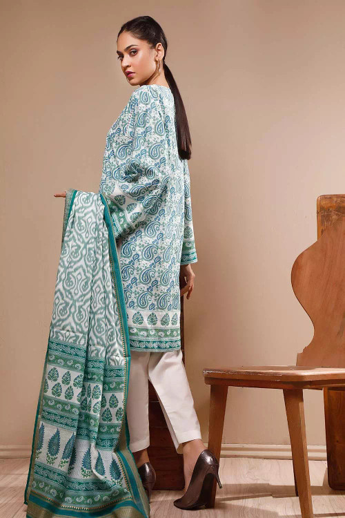 Gul Ahmed 3 Piece Custom Stitched Suit - Green - LB16614