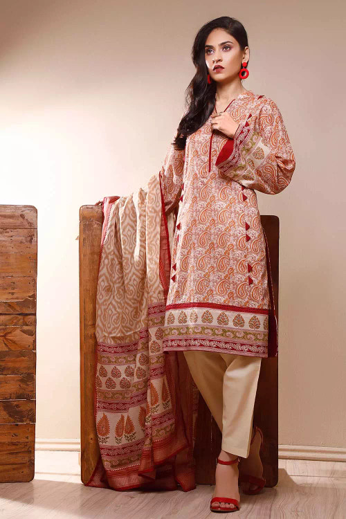 Gul Ahmed 3 Piece Custom Stitched Suit - Red - LB16615