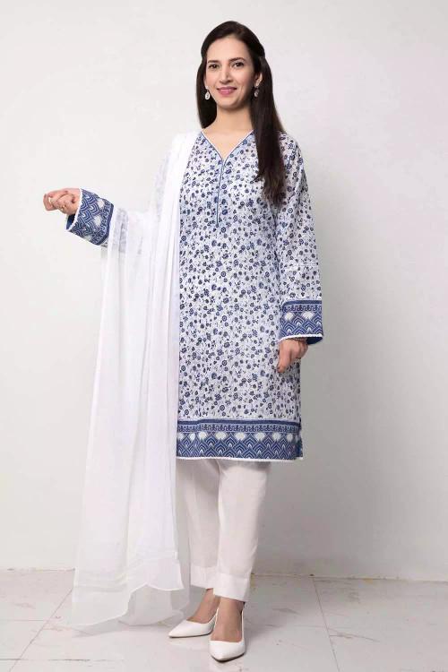 Gul Ahmed 1 Piece Custom Stitched Shirt - Blue - LB16629