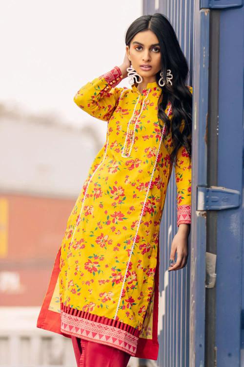 Gul Ahmed 1 Piece Custom Stitched Shirt - Yellow - LB16643