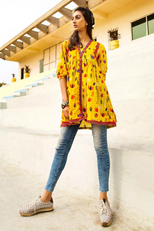 Gul Ahmed 1 Piece Custom Stitched Shirt - Yellow - LB16665