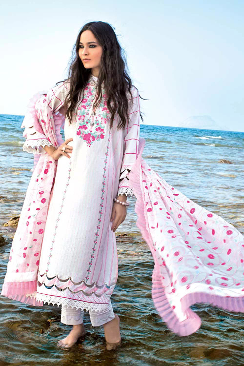 Gul Ahmed 3 Piece Custom Stitched Suit - White - LB16695