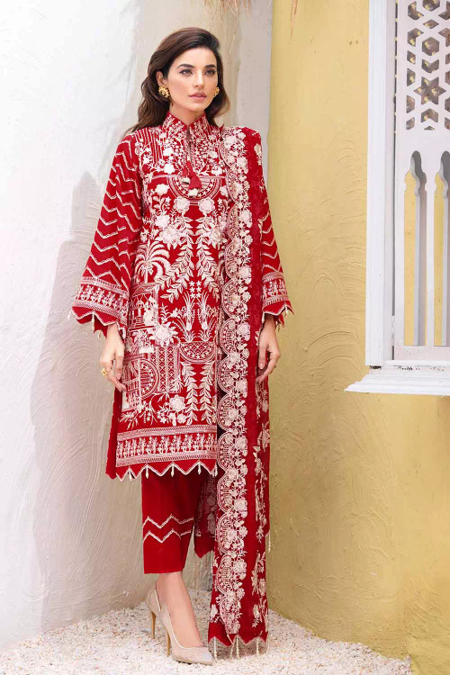 Gul Ahmed 3 Piece Custom Stitched Suit - Red - LB16696