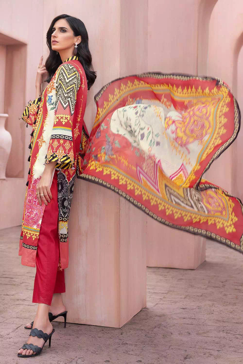 Gul Ahmed 3 Piece Custom Stitched Suit - Pink - LB16697