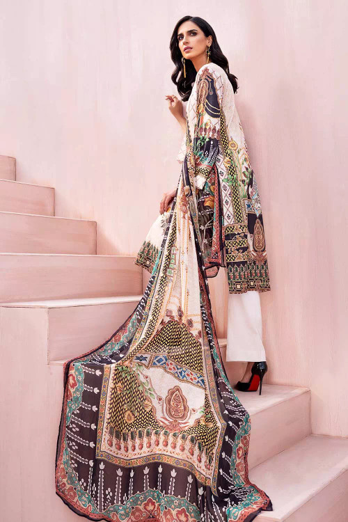 Gul Ahmed 3 Piece Custom Stitched Suit - Off-White - LB16698