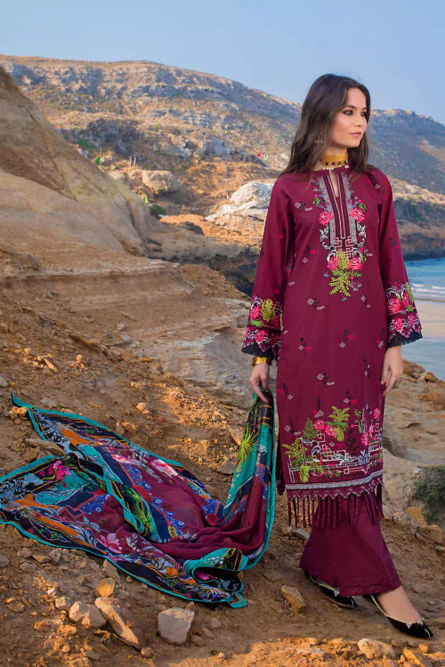 Gul Ahmed 3 Piece Custom Stitched Suit - Purple - LB16699