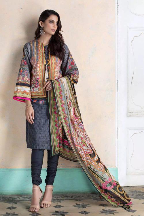 Gul Ahmed 3 Piece Custom Stitched Suit - Black - LB16700