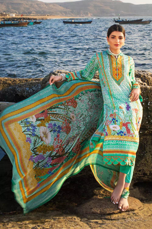 Gul Ahmed 3 Piece Custom Stitched Suit - Green - LB16701