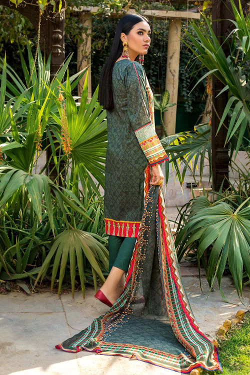 Gul Ahmed 3 Piece Custom Stitched Suit - Green - LB16702