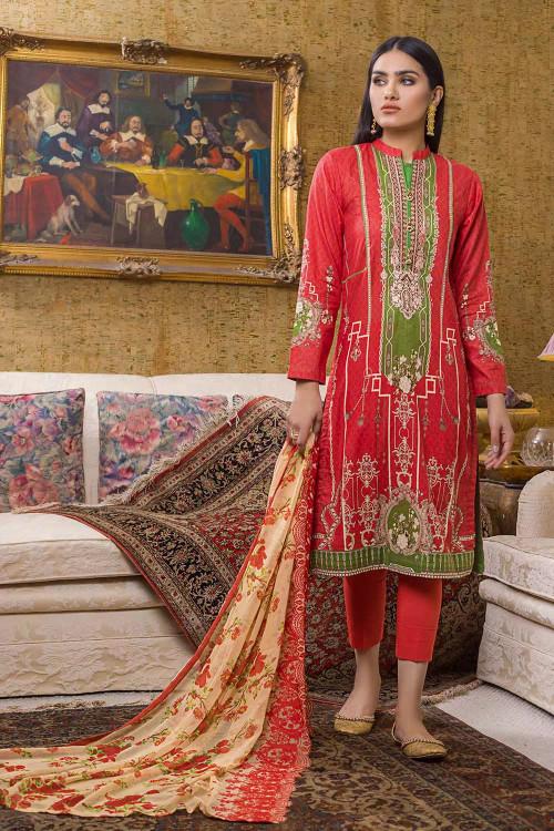 Gul Ahmed 3 Piece Custom Stitched Suit - Orange - LB16703