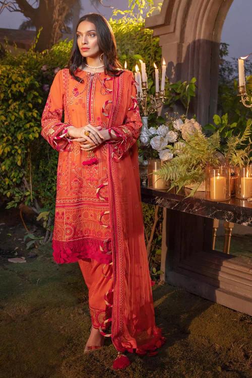 Gul Ahmed 3 Piece Custom Stitched Suit - Orange - LB16704