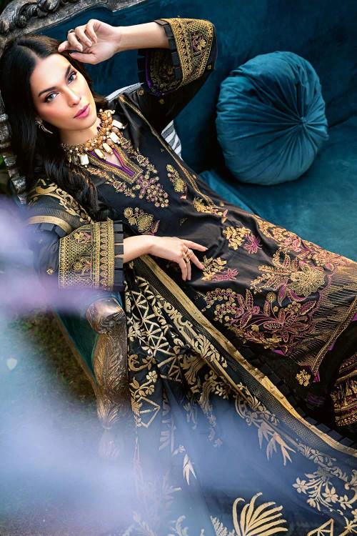 Gul Ahmed 3 Piece Custom Stitched Suit - Black - LB16705