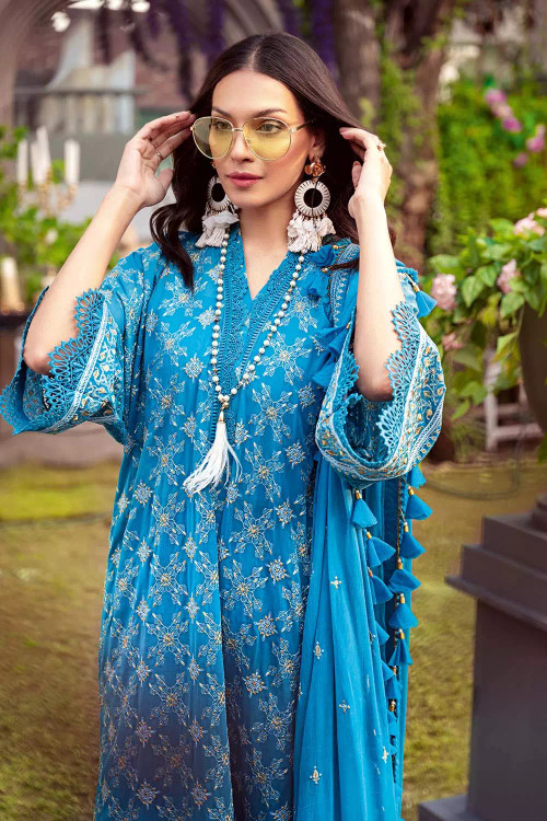 Gul Ahmed 3 Piece Custom Stitched Suit - Blue - LB16706