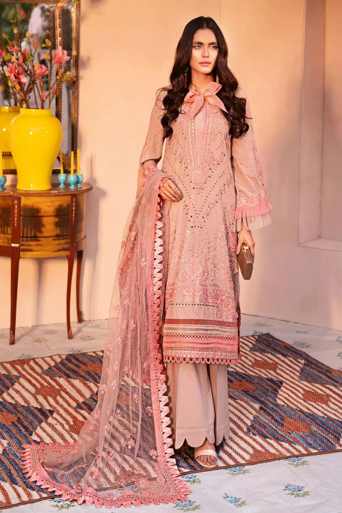 Gul Ahmed 3 Piece Custom Stitched Suit - Pink - LB16707