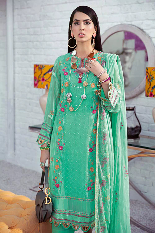 Gul Ahmed 3 Piece Custom Stitched Suit - Green - LB16709