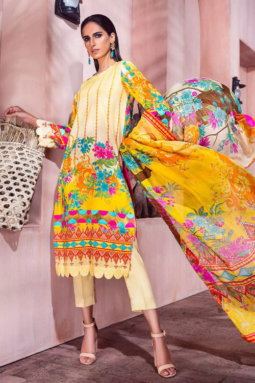 Gul Ahmed 3 Piece Custom Stitched Suit - Yellow - LB16710