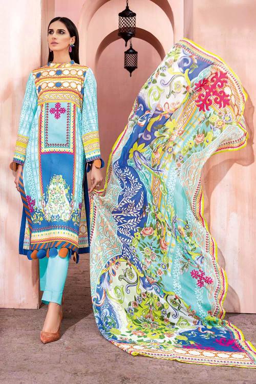 Gul Ahmed 3 Piece Custom Stitched Suit - Blue - LB16712