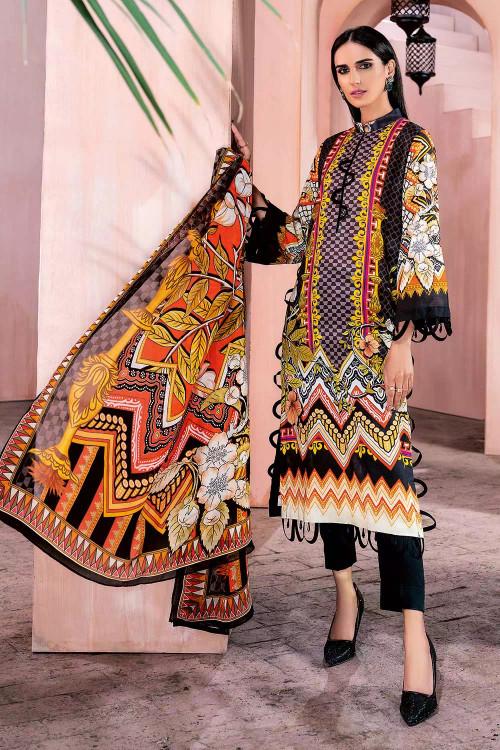 Gul Ahmed 3 Piece Custom Stitched Suit - Black - LB16713